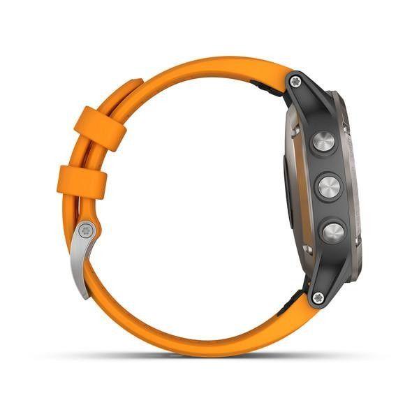 Garmin Fenix 5 Plus Sapphire Titanium with Orange Silicone