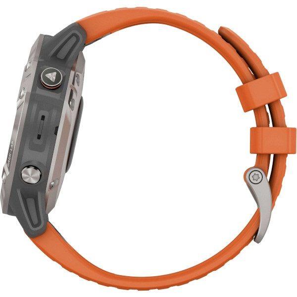 Garmin Fenix 6 Pro Sapphire Titanium with Ember Orange Band