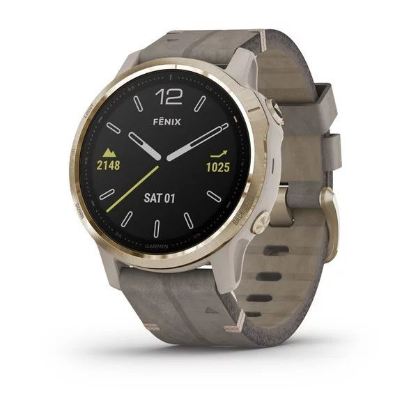 Garmin Fenix 6S Sapphire Light Gold with Shale Grey Leather Band